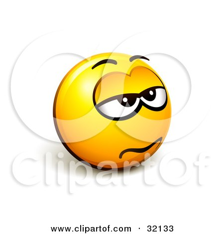 Clipart Illustration of an Expressive Yellow Smiley Face Emoticon Looking Grumpy by beboy