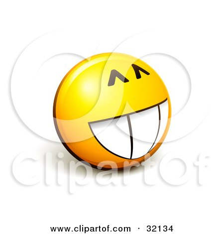 Clipart Illustration of an Expressive Yellow Smiley Face Emoticon With A Big Grin, Looking Innocent by beboy
