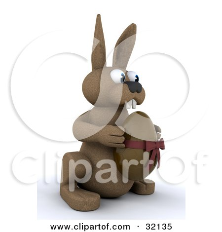 Clipart Illustration of a Brown 3d Bunny Rabbit Holding A Chocolate Easter Egg With A Bow Around It by KJ Pargeter