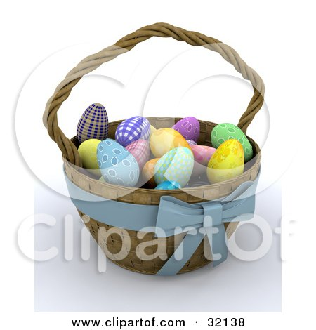 Clipart Illustration of a Weaved 3d Easter Basket With A Blue Bow, Full Of Colorful Eggs by KJ Pargeter