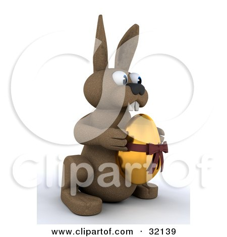 Clipart Illustration of a Brown 3d Bunny Holding A Golden Easter Egg With A Bow On It by KJ Pargeter