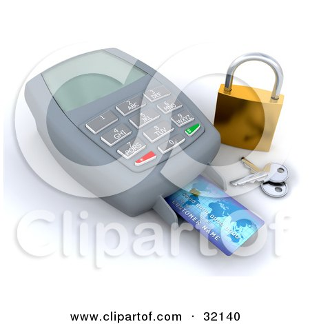 Clipart Illustration of a Credit Card Being Scanned By A Machine, A Golden Padlock And Keys To The Side, Symbolizing Secure Checkout by KJ Pargeter