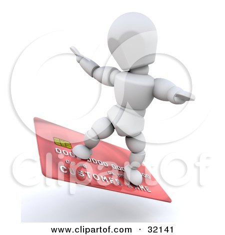Clipart Illustration of a 3d White Character Surfing On A Red Credit Card, Symbolizing Being Debt Free, Or Credit Approval by KJ Pargeter