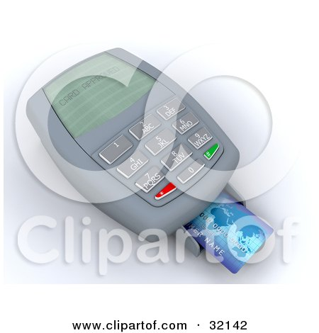 Clipart Illustration of a Blue Credit Card In The Tray Of A Processing Machine Reading Card Approved On The Screen by KJ Pargeter