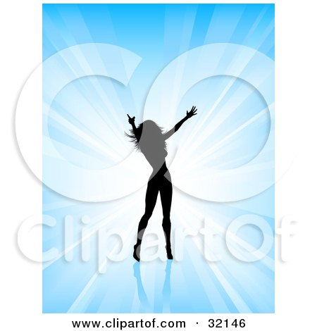 Clipart Illustration of a Sexy Woman Silhouetted In Black Against A Blue Bursting Background, Holding Her Arms Out And Dancing. by KJ Pargeter