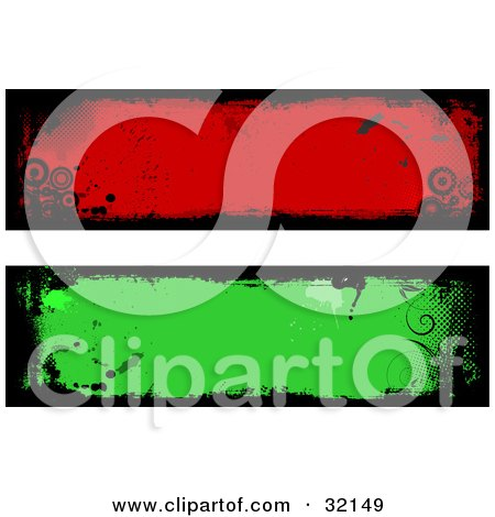 Clipart Illustration of Two Green And Blue Grunge Labels With Black Borders, Vines And Circles by KJ Pargeter