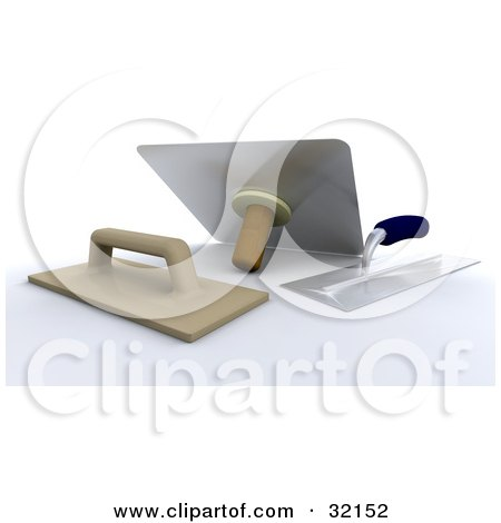 Clipart Illustration of Three Handled Trowel And Plaster Tools by KJ Pargeter