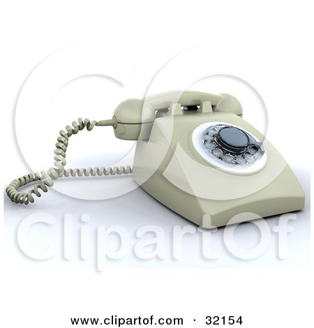 Clipart Illustration of a Beige Rotary Landline Desk Phone by KJ Pargeter