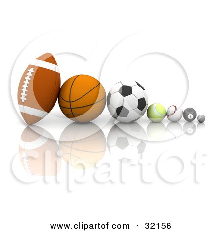 Clipart Illustration of a Football, Basketball, Soccer Ball, Tennis Ball, Baseball, Eight Ball, And Golf Ball In A Row On A Reflective White Surface by KJ Pargeter
