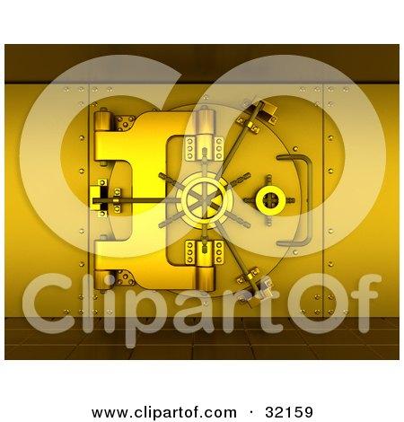 Clipart Illustration of a 3d Gold Bank Safe Vault With Tiled Floors by KJ Pargeter