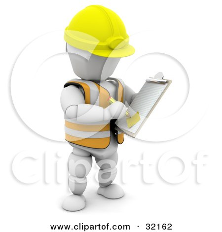 Clipart Illustration of a White Character In A Hardhat And Vest, Taking Notes On A Clipboard In A Construction Zone by KJ Pargeter