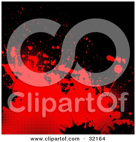 Clipart Illustration of Red And Black Splatters And Dots On A Black Background by KJ Pargeter