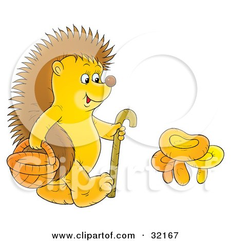 Clipart Illustration of a Hedgehog Walking With A Cane And Basket, Collecting Mushrooms by Alex Bannykh