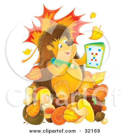 Clipart Illustration of a Smart Hedgehog Using An Activity Book And Sitting On Mushrooms, With Falling Autumn Leaves And A Worm Emerging From A Mushroom by Alex Bannykh