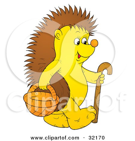 Clipart Illustration of a Happy Hedgehog Carrying A Basket And Walking With A Cane by Alex Bannykh