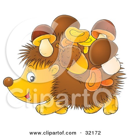 Clipart Illustration of Acorns And Mushrooms Stuck To A Hedgehog by Alex Bannykh