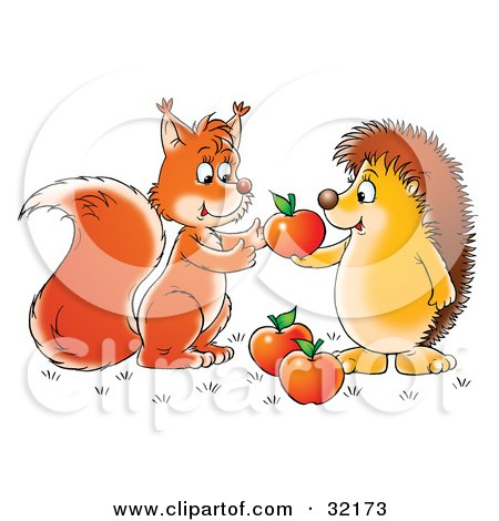 Clipart Illustration of a Hedgehog Sharing Apples With A Friendly Squirrel by Alex Bannykh