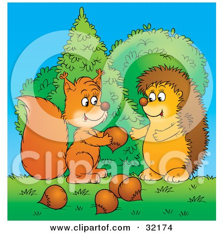 Clipart Illustration of a Caring Squirrel Sharing Acorns With A Hedgehog by Alex Bannykh