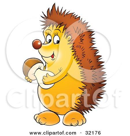 Clipart Illustration of a Happy Hedgehog Holding A Mushroom by Alex Bannykh