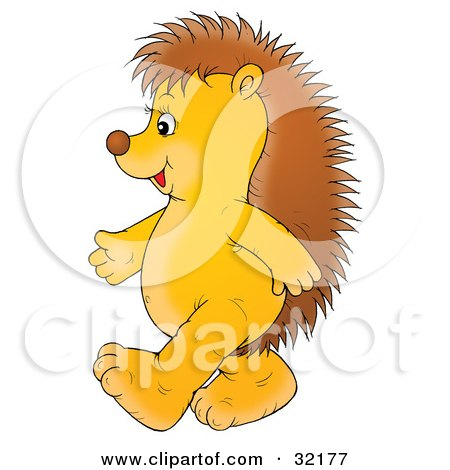 Clipart Illustration of a Cute And Happy Hedgehog Walking Upright On Its Hind Legs, Facing To The Left by Alex Bannykh