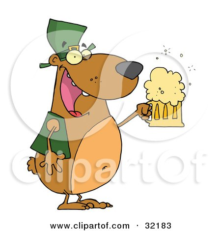 Clipart Illustration of a Happy And Intoxicated Bear In Green, Drinking Beer On St Patrick's Day by Hit Toon