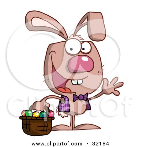 Clipart Illustration of a Spunky Bunny Wearing A Vest And Tie, Waving And Carrying A Basket Of Easter Eggs by Hit Toon