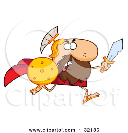 Clipart Illustration of a Tough Spartan Warrior Running Forward With A Shield And Sword by Hit Toon