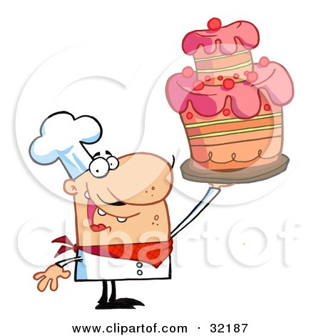 Clipart Illustration of a Proud Chef Holding Up A Masterpiece Layered Cake by Hit Toon
