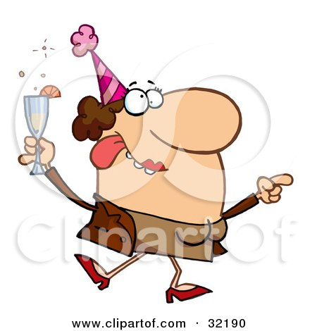 Clipart Illustration of a Boozed Up Woman Dancing And Feeling Tipsy At A Party by Hit Toon