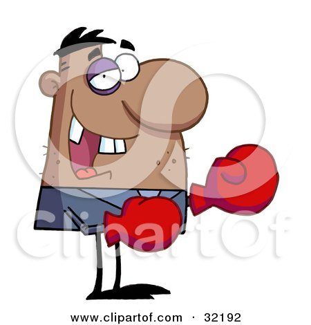 Grinning Boxer With Missing Teeth And A Black Eye, Wearing Red Boxing Gloves Posters, Art Prints