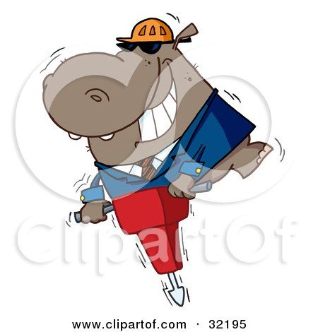 Clipart Illustration of a Happy Hippo Worker Operating A Vibrating Jackhammer by Hit Toon