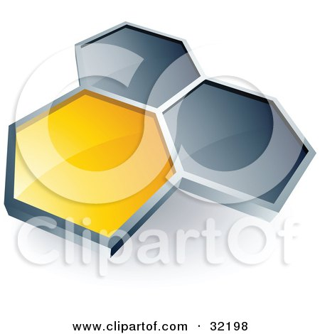 Clipart Illustration of a Pre-Made Logo Of One Yellow Honeycomb Connected To Two Others by beboy
