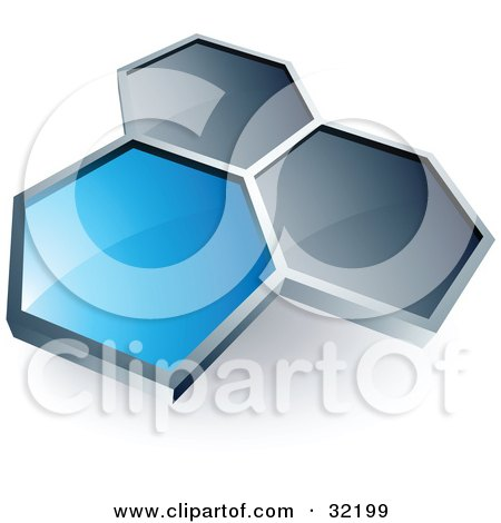 Clipart Illustration of a Pre-Made Logo Of One Blue Honeycomb Connected To Two Others by beboy
