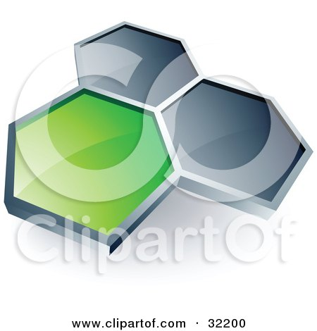 Clipart Illustration of a Pre-Made Logo Of One Green Honeycomb Connected To Two Others by beboy