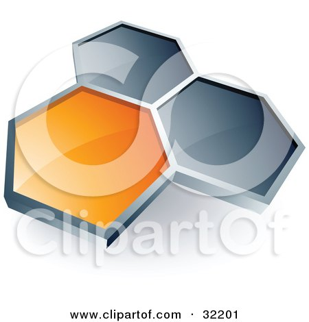 Clipart Illustration of a Pre-Made Logo Of One Orange Honeycomb Connected To Two Others by beboy