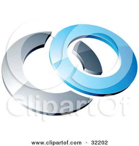 Clipart Illustration of a Pre-Made Logo Of A Blue Shiny 3d Ring Over A Chrome Circle by beboy