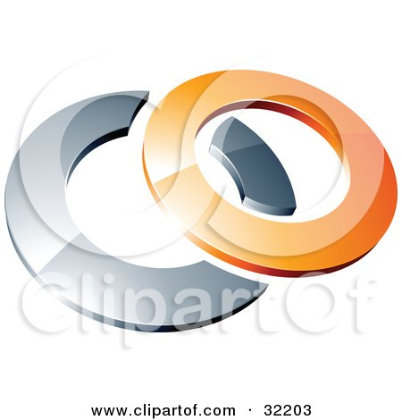 Clipart Illustration of a Pre-Made Logo Of A Orange Shiny 3d Ring Over An Chrome Circle by beboy