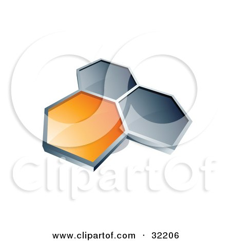 Clipart Illustration of a Group Of Three Hexagons Connected Like A Honeycomb, One Orange, Two Dark Blue, On A White Background by beboy