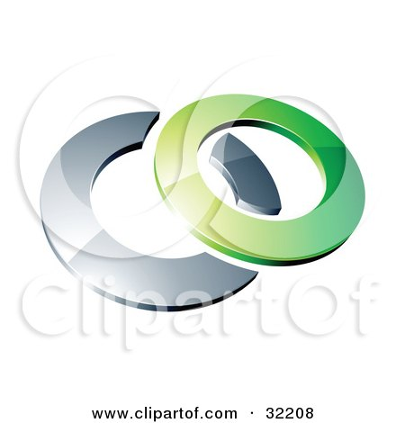 Clipart Illustration of a Reflective Green 3d Ring Resting On A Chrome Ring, On A White Background by beboy