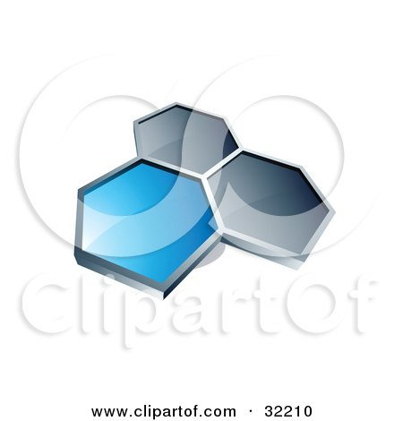Clipart Illustration of a Group Of Three Hexagons Connected Like A Honeycomb, One Blue, Two Dark Blue, On A White Background by beboy
