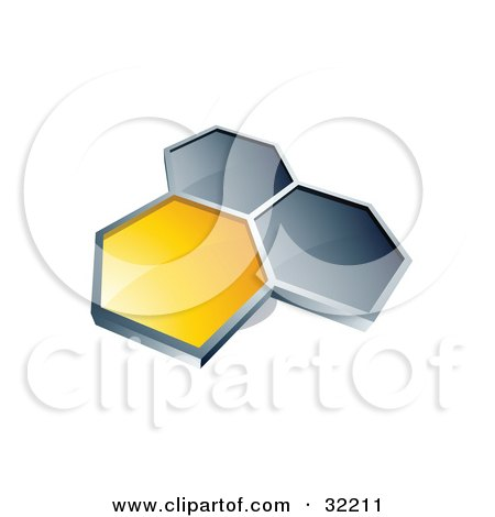 Clipart Illustration of a Group Of Three Hexagons Connected Like A Honeycomb, One Yellow, Two Dark Blue, On A White Background by beboy