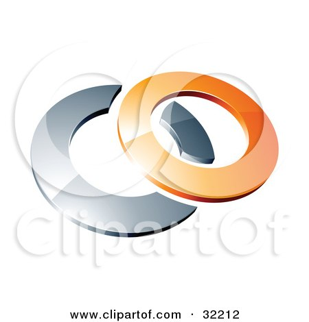 Clipart Illustration of a Reflective Orange 3d Ring Resting On A Chrome Ring, On A White Background by beboy