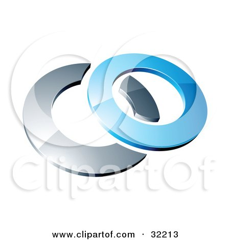 Clipart Illustration of a Reflective Blue 3d Ring Resting On A Chrome Ring, On A White Background by beboy