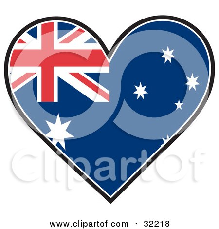 Clipart Illustration of a Heart Shaped Australian Flag With Union Flag, Commonwealth Star, And The Southern Cross Constellation, On A White Background by Maria Bell