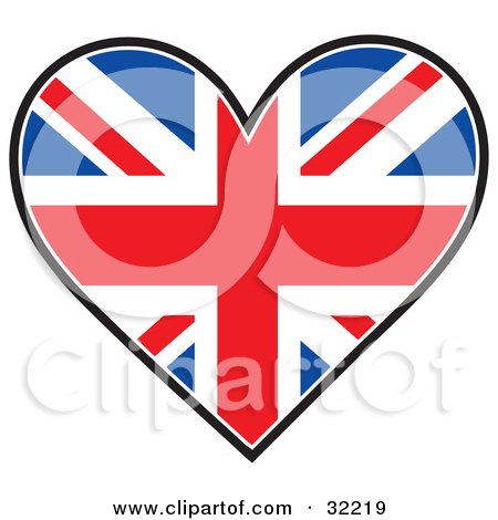 Clipart Illustration of a Heart Shaped Union Jack Flag, On A White Background by Maria Bell