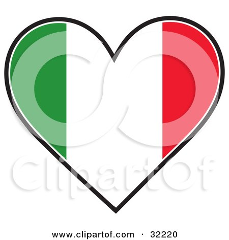 picture of a heart shaped green, white and red tricolor Italian Flag,