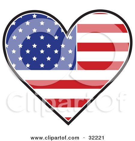 Clipart Illustration of a Heart Shaped American Flag With The Red, White And Blue Stars And Shapes, On A White Background by Maria Bell
