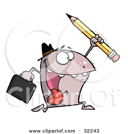 Clipart Illustration of an Energetic Monster Wearing A Hat, Carrying A Briefcase And Running With A Pencil, On A White Background by Hit Toon