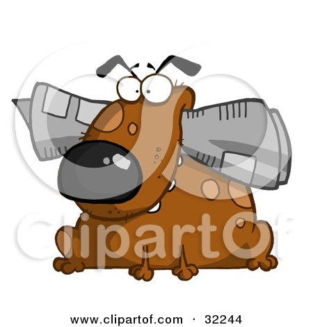 Clipart Illustration of a Chubby Brown Dog Sitting With A Newspaper In His Mouth, On A White Background by Hit Toon