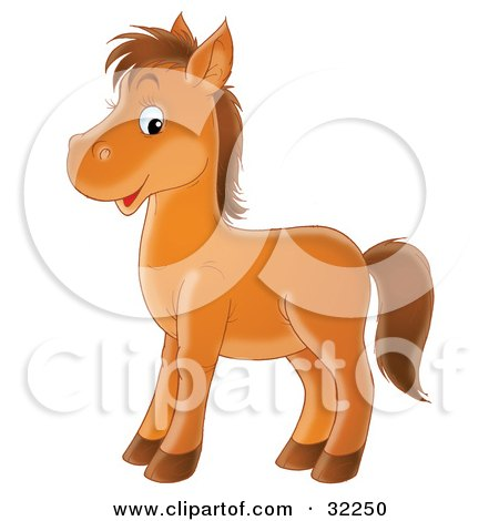 Clipart Illustration of a Happy Brown Pony Facing To The Left And Glancing At The Viewer by Alex Bannykh